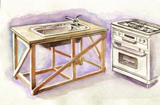 仮設のキッチン