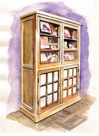 和菓子屋さんの戸棚