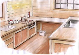 ログハウスのキッチン